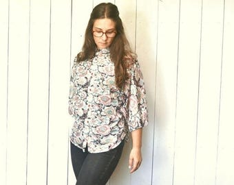 34% Off Sale - Sheer Floral Blouse - Hippie Boho 1960s Dolman Sleeve Top - Vintage Button Up High Collar Loose Fit Top - One Size - S M L