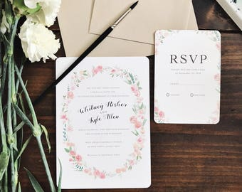 Watercolor Floral Wreath Wedding Invitations /// Colorful Flowers /// botanical
