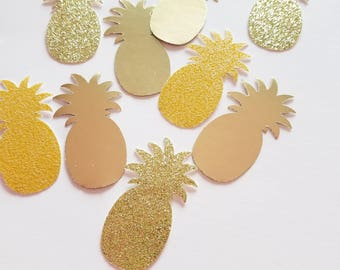 Pineapple Table Confetti {30 pcs} Mixed Glitter Paper Set, Luau Party Decorations, Pina Colada, Birthday, Bridal Shower, Baby Shower