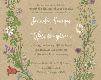 Wildflower Invitations, Boho Kraft Paper Wedding Set, Greenery, Discount Stationery Daisy Flowers, Custom Listing for jvngs86