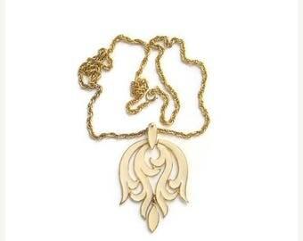 ON SALE Vintage 1970s Crown Trifari Runway Pendant Necklace Cream Enamel Signed