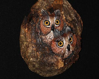 Owl Wood Bird Carving - OOAK -  Hand Carved and Sculpted