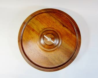 Vintage Lazy Susan SOLID WALNUT Large with HANDLE
