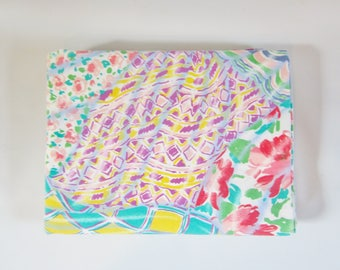 Vintage Flat Sheet PATCHWORK KALEIDOSCOPE Full Queen Pastels 1990s