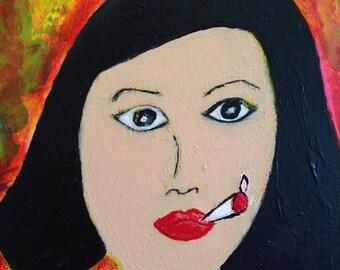 ON SALE Kim - Orginal Mixed Media Portrait Female Smoker Red Teal Yellow Autism Art