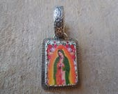 Our Lady of Guadalupe #1 Pendant Sterling Silver and Shrinky Dink Shrink Plastic Catholic Religious Kitsch Jewelry