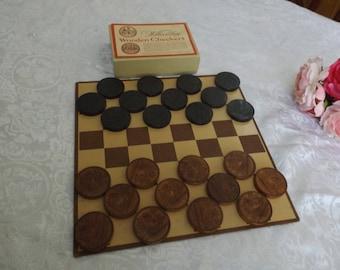 "Rare Aesop Wooden Checkers game Vintage board game .Full set 12 brown 12 black wooden checkers Board game Collectible.1 3/4"" dia Gift idea"