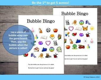 Bubble Wrap Bingo Printable Kids Birthday Party Game Download