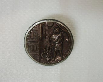 """Antique Picture Button Metal 1 1/8"""" Songster Richard I of England Man Playing Instrument"""