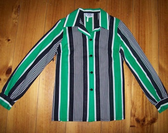 1960s 1970s Vintage Green Stripe Shirt.  SSW - Small.