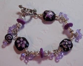 Purple Lampwork, Crystal and Pearl Bracelet