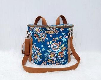 Navy floral Madelyn Backpack Diaper Bag