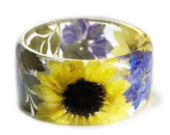 Sunflower Jewelry- Flower Jewelry - Sunflower Gifts  - Real Flower Jewelry- Flower Jewelry -  Modern Flower Child- Bridesmaid Gifts- boho