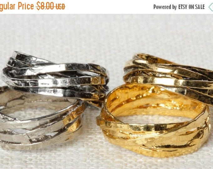 Twisted Stacked Vintage Ring Bright Gold Silver Antique Gold US Womens Sizes 7D