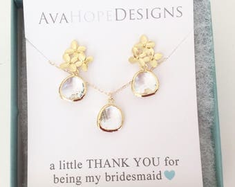 10-20% OFF BRIDESMAID SETS, Clear Crystal Bridesmaid Earrings Set, Wedding Jewelry, Necklace and Earring Set, Bridesmaid Jewelry set, gifts