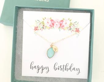 Birthstone necklace / Personalized Gift / Initial Necklace / Gift for Her / Best Selling Item / Gold Necklace / March Birthstone Birthday