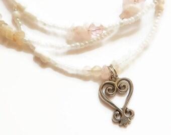 Womb Wellness Waistbeads, Sankofa Rose Quartz & Moonstone Healing Waist Beads, Plus Sizes Available,  Belly Chains, Belly Beads