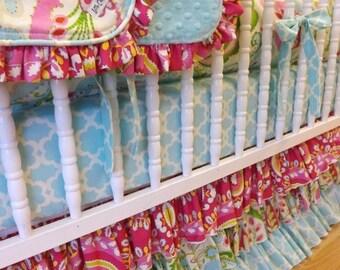 SUMMER SALE-- Girl Crib Bedding- Kumari Garden Baby Bedding- MADE to Order--- Crib Bumper- Sheet- Kumari Garden Crib Bedding- 4 pc--