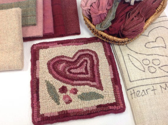 "Rug Hooking KIT, ""Heart Mat"", 8"" x 8"", K117,  DIY Primitive Rug Hooking, Wide Cut Hooking, Folk Art Heart Mat"