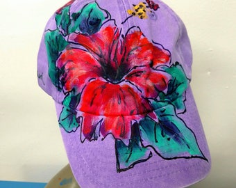 Purple Baseball Cap with Large Red Hibiscus Flower Hand painted
