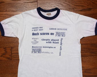 vintage 80s ringer classical music pun shirt funny punny ringer tee shirt WABE FM90 Atlanta 1980 soft thin t-shirt S/M