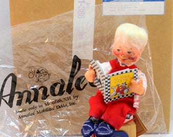 Vintage Logo Annalee Doll Society 1991 Mother Goose Boy Reading Original Box