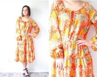 40% OFF CHRISTMAS in JULY Vintage 1970's modest long sleeve dress // orange boho floral dress // orange dress // floral dress // fall dress