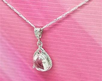Bridal Necklace. Crystal Pendant. Bridal Jewelry. Bridesmaids Necklace. Wedding Jewelry. Bridesmaids Jewelry