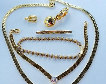 SUMMER SALE Craft Lot of Vintage and Salvaged Gold Metal and Clear Rhinestone Jewelry Pieces