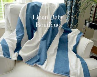 Blue Denim Chambray and White LinenStripe Blanket. Baby,Toddler or Throw Blanket. Gender Neutral. Blue Denim and White Linen.
