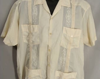 as-is. Beige Guayabera Shirt. OR Customizable Zombie Halloween Costume. Add Tatters, Grunge, Bite Marks, Holes, Stains, & Blood Mens L Xl 44