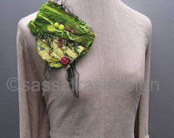 Brooch pin, hand made fiber art brooch, OOAK wearable statement accessory, bohemian fiber art accessory, women's textile art accessories