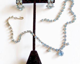 Blue Rhinestone Necklace Earrings Set Vintage 1970s Wedding Prom Jewelry Jewellery Bridal Women Teenage Girls Gift Guide