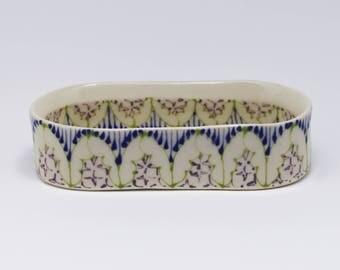 Handmade Ceramic Olive Boat with Kiwi, Heather and Purple Pattern