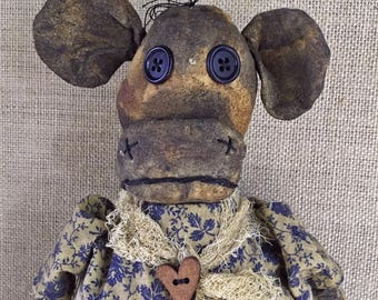 primitive cow doll - spotted cow - prim folk art cow - barnyard - kitchen cow decor - primitive farm animals - country cow - farmhouse decor