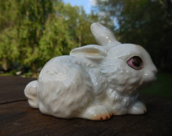 Vintage 1950s Retro White Porcelain Bunny Rabbit Figurine Brown Eyes W. Germany Goebel Small Easter Decor Laying Down
