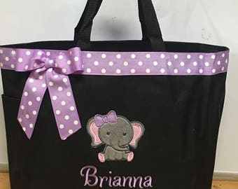 Personalized Baby Girl Elephant Diaper Bag Tote