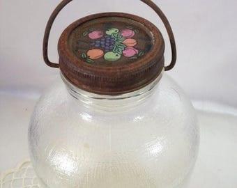 ON SALE Glass Jug Vintage Syrup Pail Jar Fruit Jar Jug