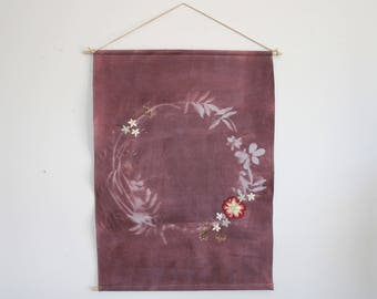 One of a Kind Hand Dyed and Embroidered Botanial Wreath Sun print Wall Hanging