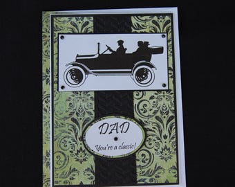 Vintage Car Father's Day Card and Coordinating Envelope
