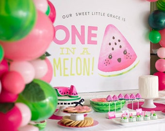 Watermelon  Backdrop Custom PRINTABLE DOWNLOAD One in a Melon 4 ft Party Backdrop .pdf  file