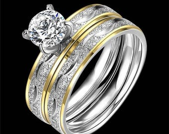 2 piece titaniumi gold plated engagement wedding ring - 2 Piece Wedding Rings