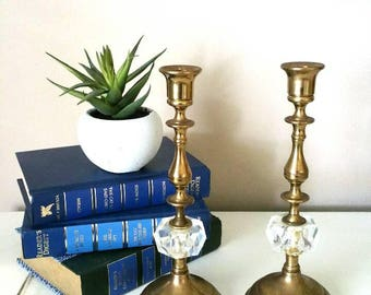 Vintage Brass Candle Holder Brass Candle Holder Set Vintage Brass Brass Candlesticks Vintage Home Decor Vintage Lighting Farmhouse Decor