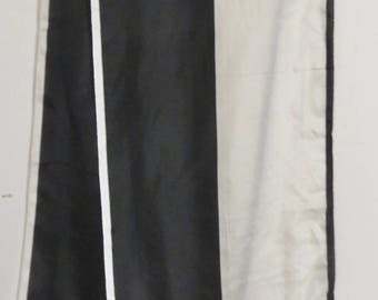 "Long Black and white Silk Scarf 12"" X 60""  Norell #001"