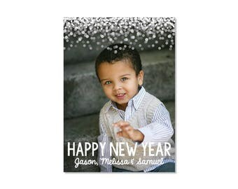 Confetti New Year Photo Card