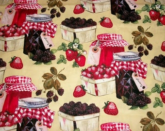 Strawberry Fabric, Summer Fabric, By The Yard, Springs Creative Fabric, Black Berry Jam Collection, Quilting Sewing Fabric, Novelty Fabric