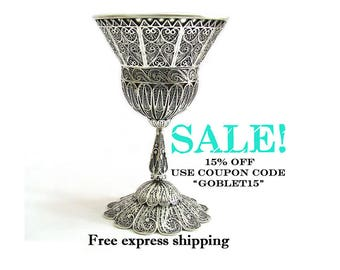 SALE, 925 Sterling Silver, Goblet, Chalice, Kiddush, Wine Goblet, Filigree, Holidays Gift, Wedding Gift, Judaica, Sterling Silver Cup ID743P