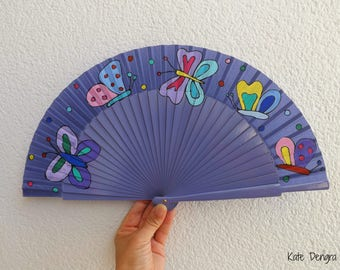Butterflies Butterfly Colorful Can Be Any Color Scheme Hand Painted Hand Fan Wood Fabric Folding Fan by Kate Dengra Spain
