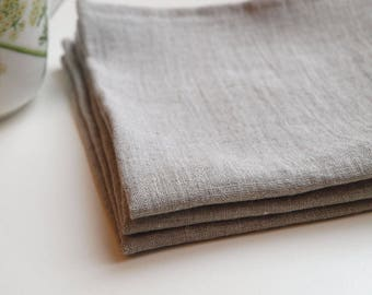 "SALE. Linen napkin - 13""x13"" (33x33cm). Set of 10. Natural, softened linen. Grey."