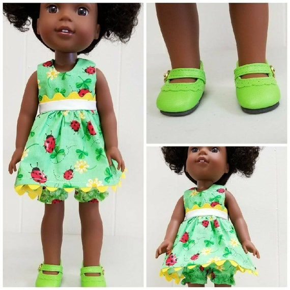 Wellie Wisher Clothes Green Lady Bug Dress, Bloomers and Shoes.